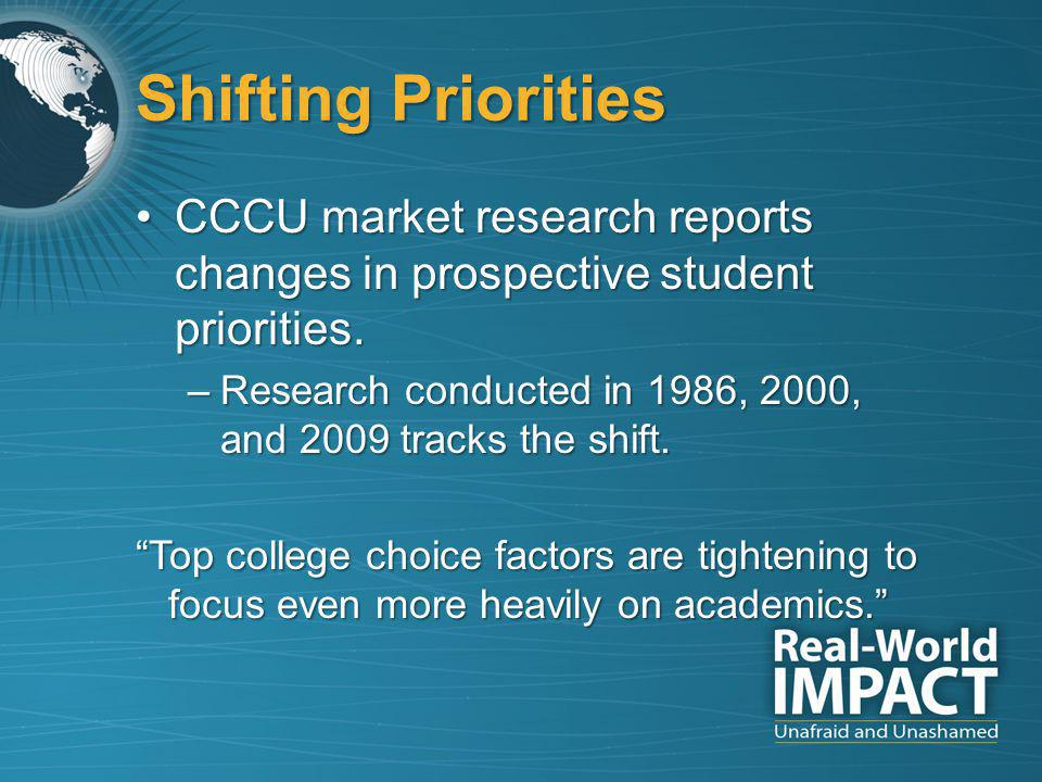 Shifting Priorities CCCU market research reports changes in prospective student priorities.CCCU market research reports changes in prospective student priorities.
