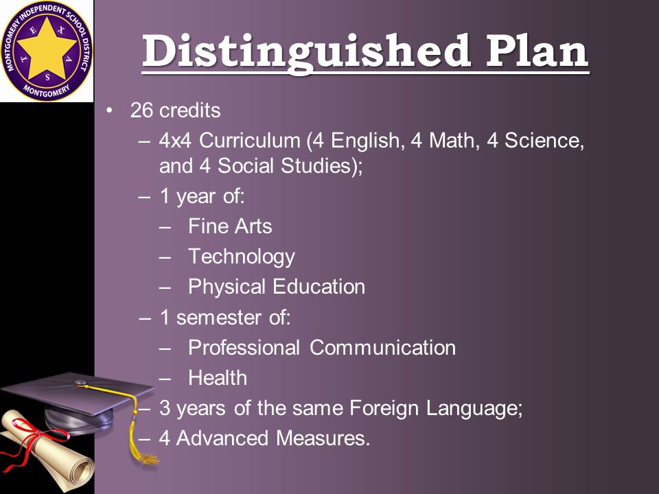 Foundation Plan This is the new plan under House Bill 5 –Freshman and Sophomore students can opt into the plan if we feel it is beneficial –4 English, 3 Math, 3 Science, and 3 Social Studies; –1 year of: –Fine Arts –Physical Education –2 years of the same Foreign Language.