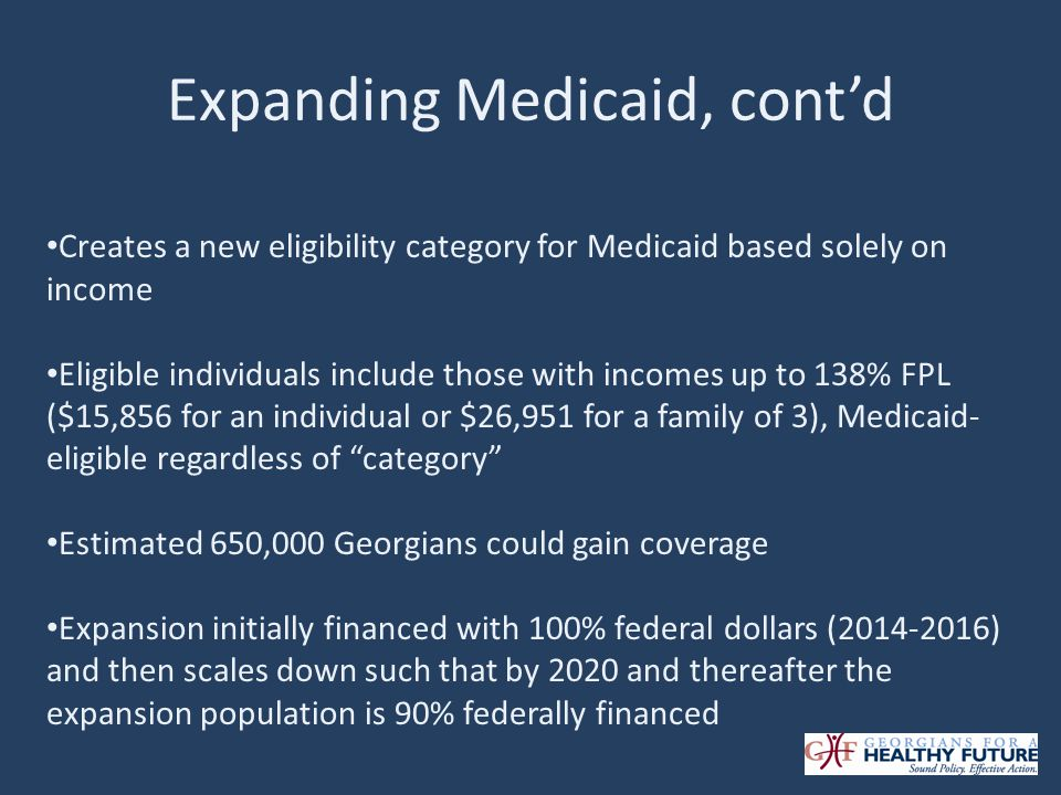 Expanding Medicaid, contd Creates a new eligibility category for Medicaid based solely on income Eligible individuals include those with incomes up to 138% FPL ($15,856 for an individual or $26,951 for a family of 3), Medicaid- eligible regardless of category Estimated 650,000 Georgians could gain coverage Expansion initially financed with 100% federal dollars (2014-2016) and then scales down such that by 2020 and thereafter the expansion population is 90% federally financed