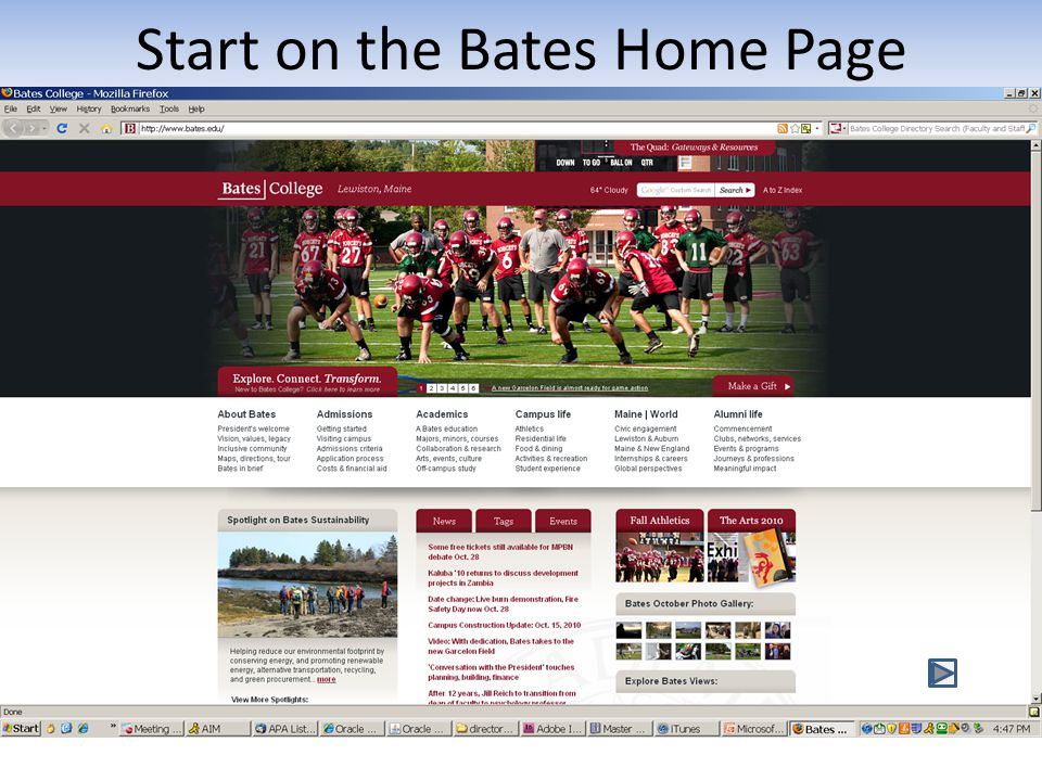 Start on the Bates Home Page