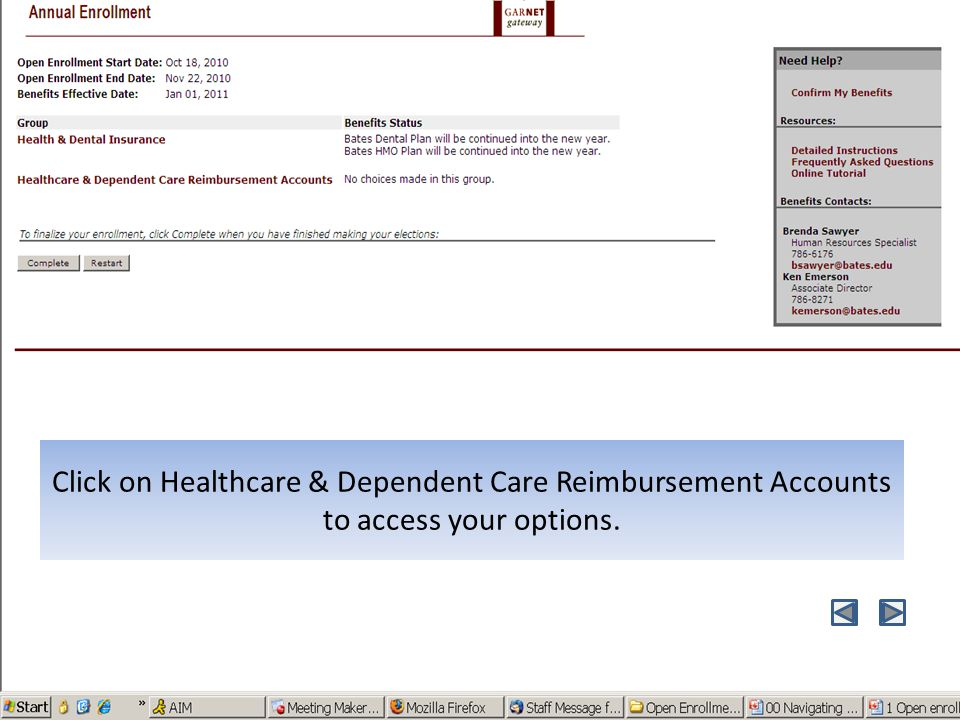 Click on Healthcare & Dependent Care Reimbursement Accounts to access your options.