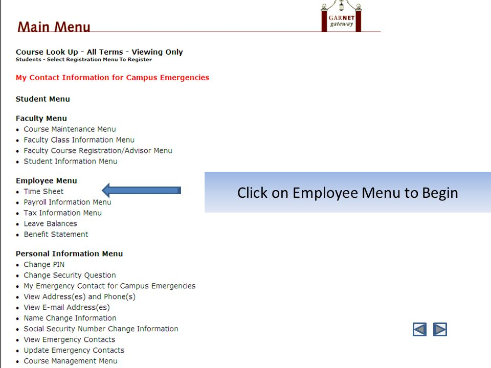 Click on Employee Menu to Begin