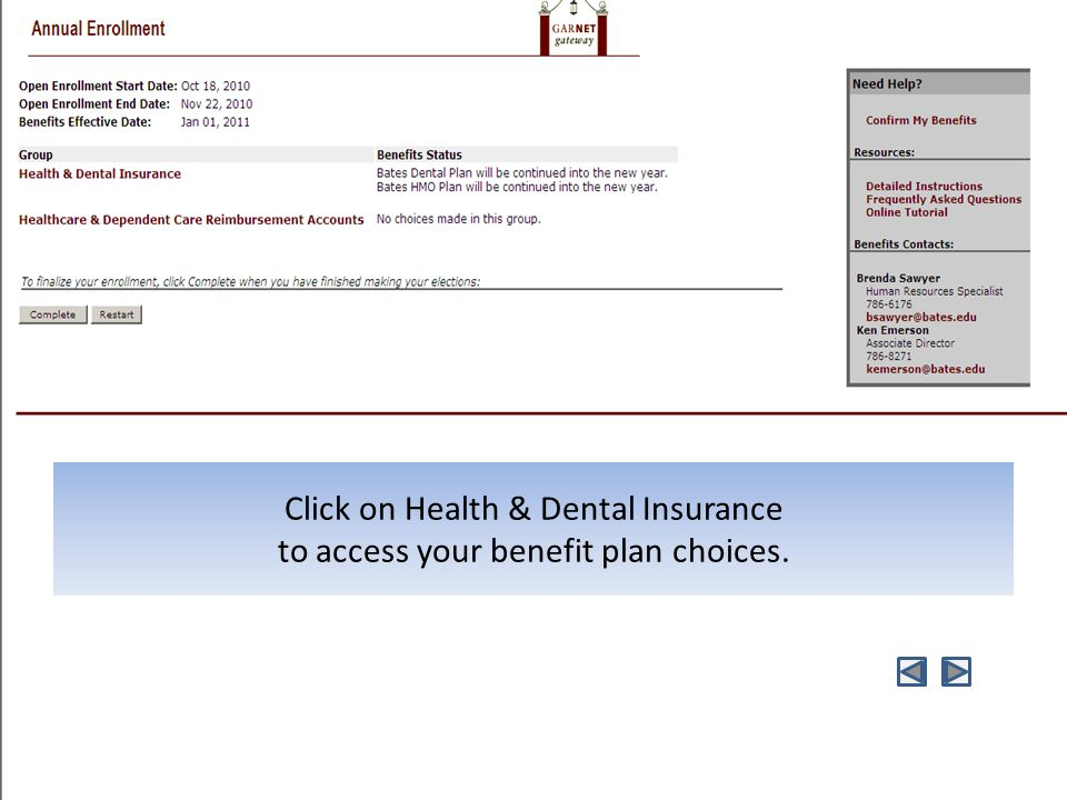Click on Health & Dental Insurance to access your benefit plan choices.