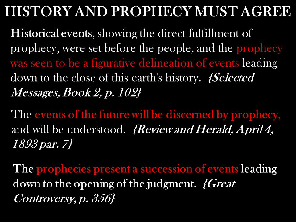 Historical events, showing the direct fulfillment of prophecy, were set before the people, and the leading down to the close of this earth's history.