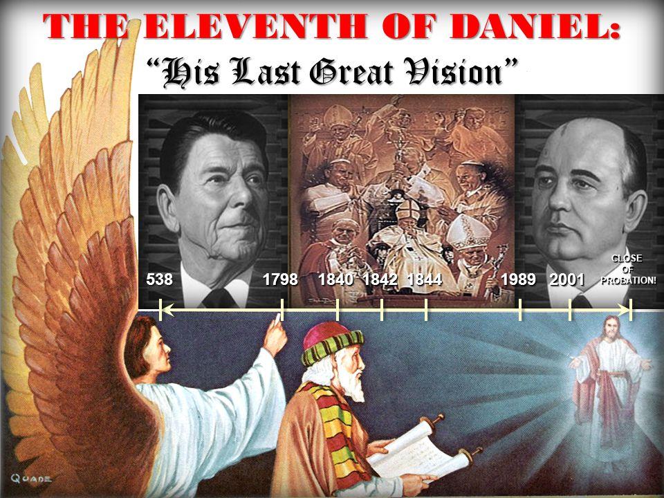 THE ELEVENTH OF DANIEL: His Last Great Vision 5385381798179818401840184218421844184419891989 CLOSEOFPROBATION!CLOSEOFPROBATION! 20012001