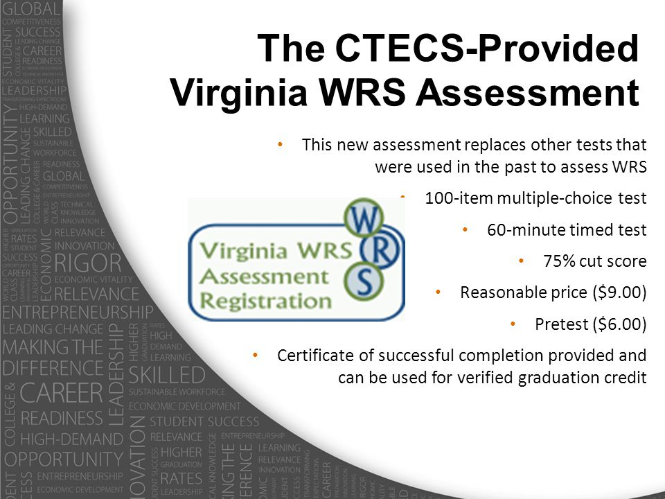 This new assessment replaces other tests that were used in the past to assess WRS 100-item multiple-choice test 60-minute timed test 75% cut score Reasonable price ($9.00) Pretest ($6.00) Certificate of successful completion provided and can be used for verified graduation credit The CTECS-Provided Virginia WRS Assessment