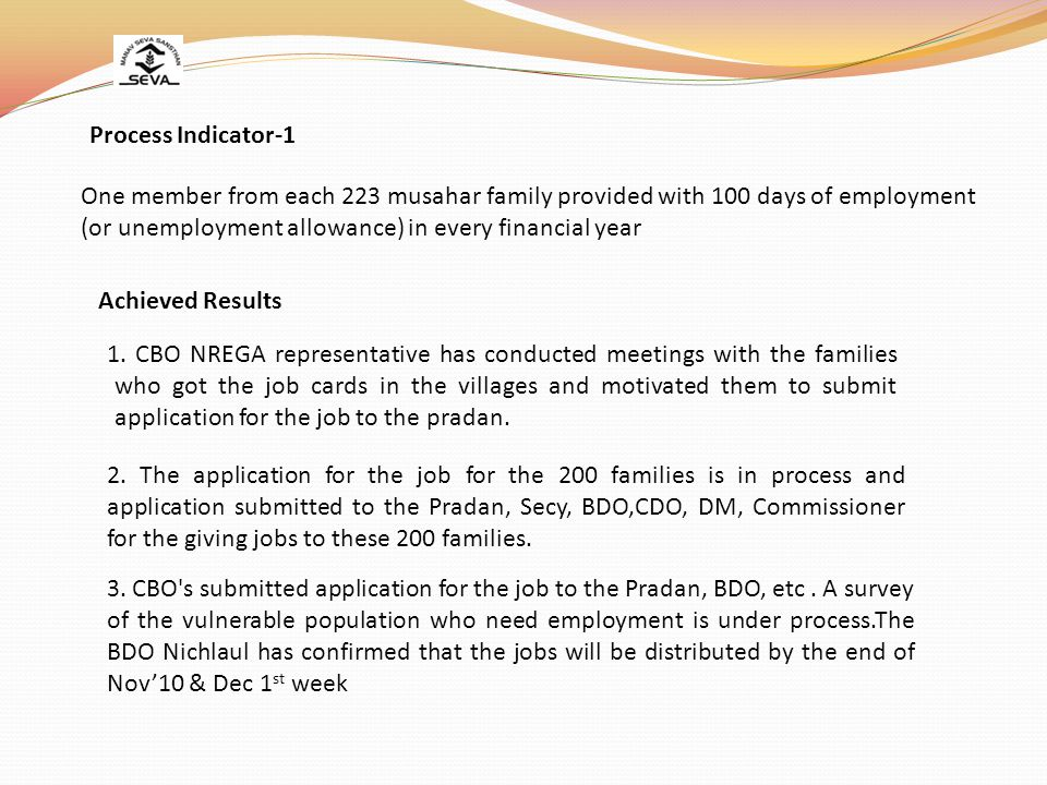One member from each 223 musahar family provided with 100 days of employment (or unemployment allowance) in every financial year Process Indicator-1 Achieved Results 2.
