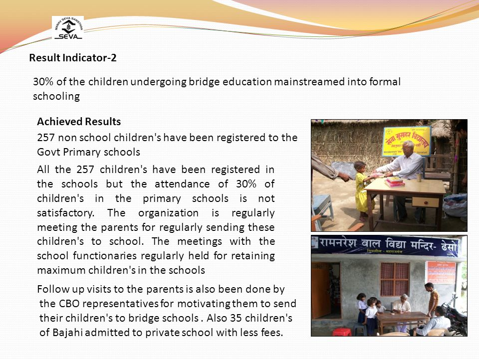 30% of the children undergoing bridge education mainstreamed into formal schooling Result Indicator-2 257 non school children s have been registered to the Govt Primary schools Achieved Results All the 257 children s have been registered in the schools but the attendance of 30% of children s in the primary schools is not satisfactory.