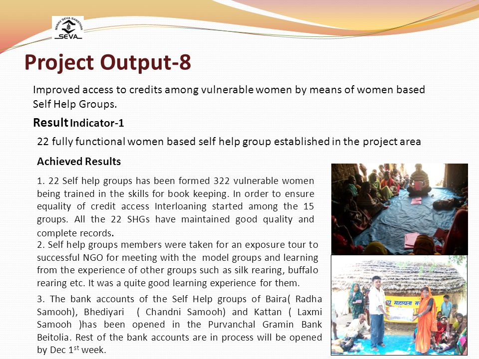 Project Output-8 22 fully functional women based self help group established in the project area Result Indicator-1 Achieved Results 1.
