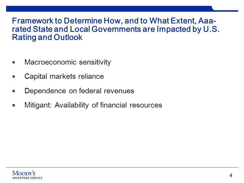 Framework to Determine How, and to What Extent, Aaa- rated State and Local Governments are Impacted by U.S. Rating and Outlook Macroeconomic sensitivi