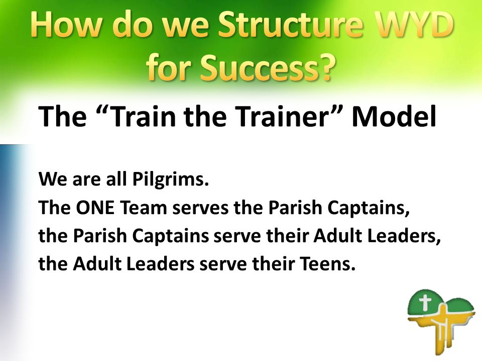 The Train the Trainer Model We are all Pilgrims.