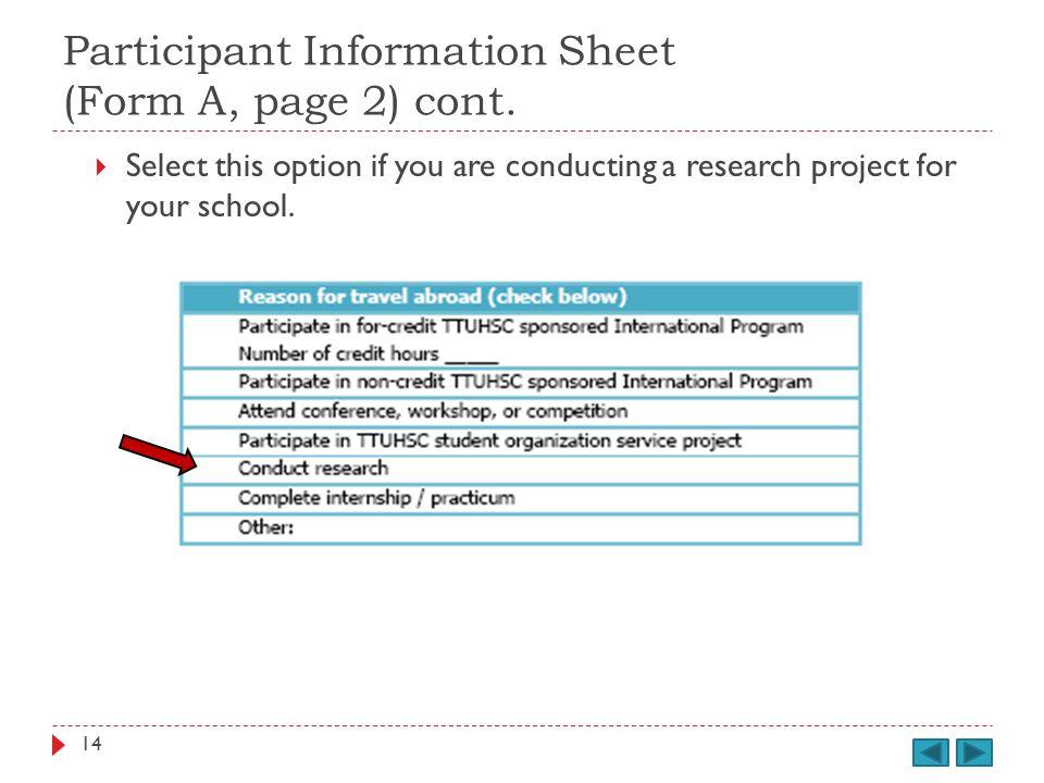 Participant Information Sheet (Form A, page 2) cont.