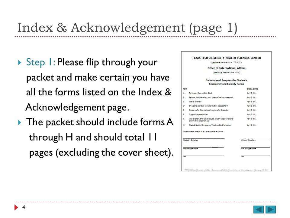 Index & Acknowledgement (page 1) cont.Step 2: Check the effective date at the bottom of each page.