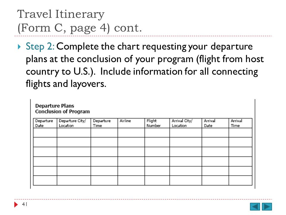 Travel Itinerary (Form C, page 4) cont.