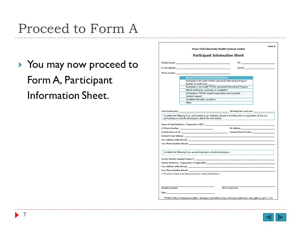 Proceed to Form C You can now proceed to Form C, Travel Itinerary. 38