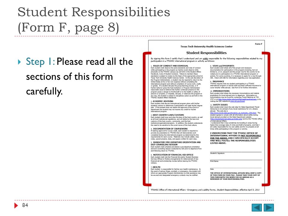 Student Responsibilities (Form F, page 8) Step 1: Please read all the sections of this form carefully.