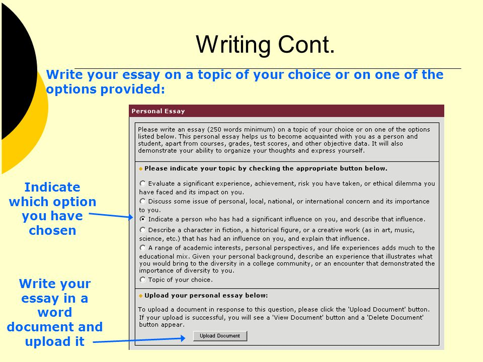 Writing Cont. Write your essay on a topic of your choice or on one of the options provided: Indicate which option you have chosen Write your essay in