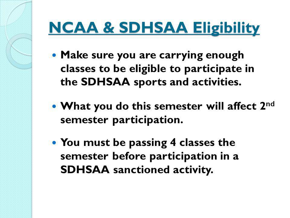 NCAA & SDHSAA Eligibility Make sure you are carrying enough classes to be eligible to participate in the SDHSAA sports and activities. What you do thi