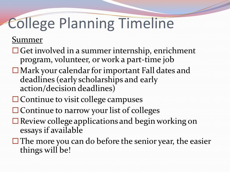 College Planning Timeline Summer Get involved in a summer internship, enrichment program, volunteer, or work a part-time job Mark your calendar for im