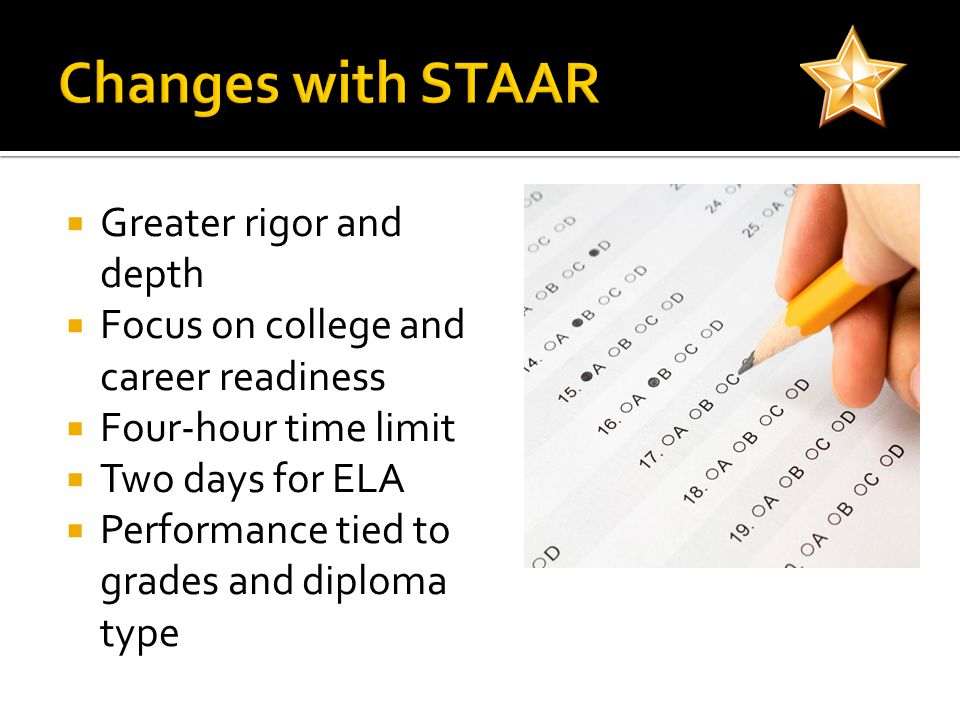 Greater rigor and depth Focus on college and career readiness Four-hour time limit Two days for ELA Performance tied to grades and diploma type