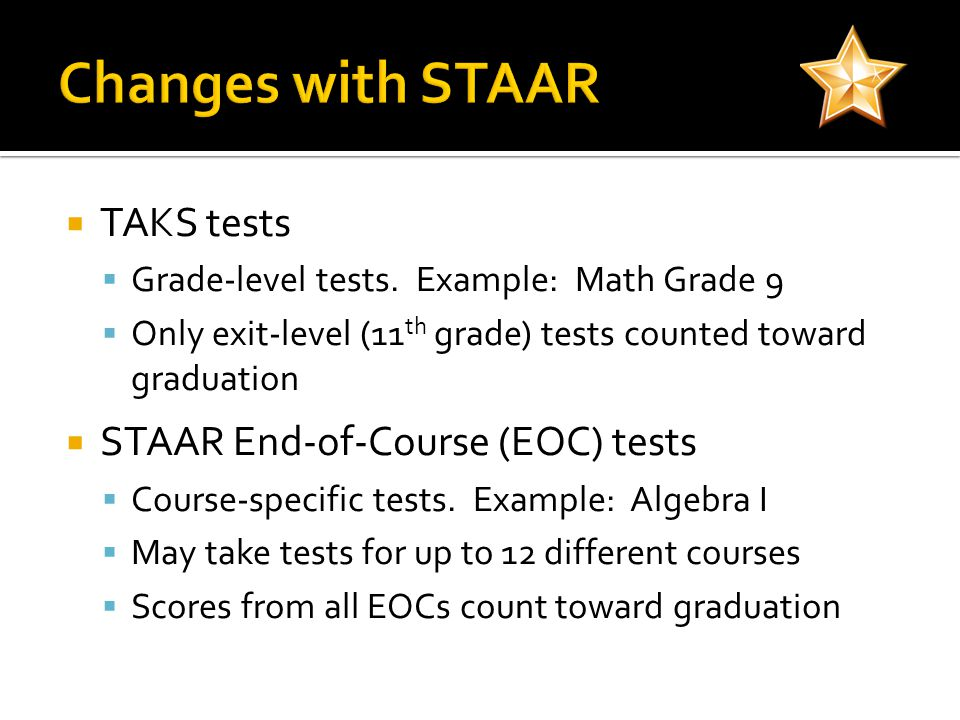 TAKS tests Grade-level tests.