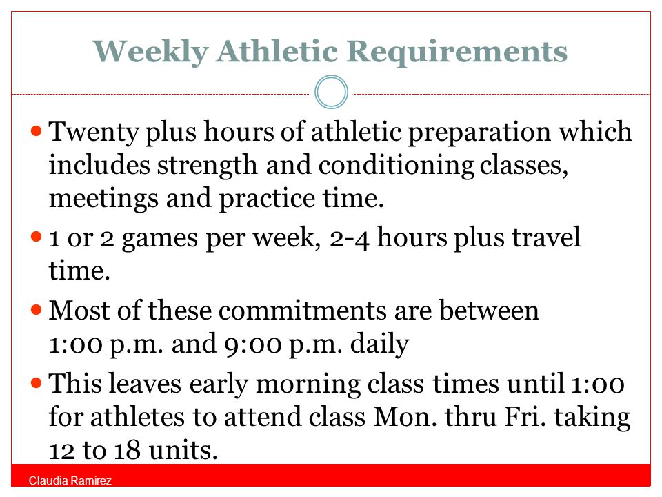 Weekly Athletic Requirements Twenty plus hours of athletic preparation which includes strength and conditioning classes, meetings and practice time.