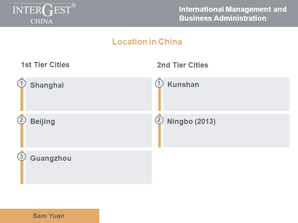 International Management and Business Administration Sam Yuan Location in China 2 3 2 11 Guangzhou Beijing Ningbo (2013) Kunshan Shanghai 1st Tier Cit