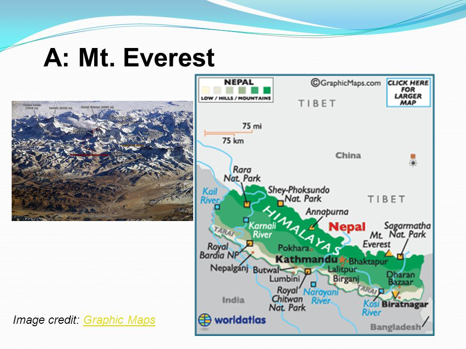 A: Mt. Everest Image credit: Graphic MapsGraphic Maps