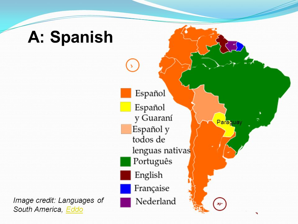A: Spanish Image credit: Languages of South America, EddoEddo Paraguay