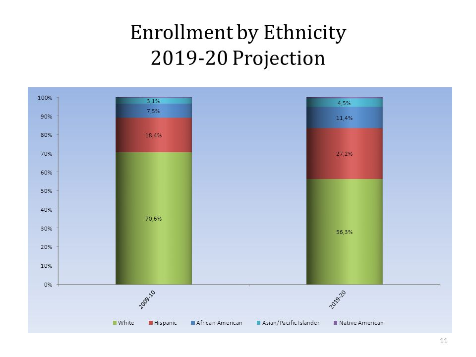 Enrollment by Ethnicity 2019-20 Projection 11
