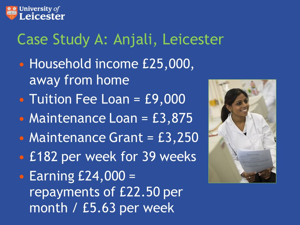 Case Study A: Anjali, Leicester Household income £25,000, away from home Tuition Fee Loan = £9,000 Maintenance Loan = £3,875 Maintenance Grant = £3,250 £182 per week for 39 weeks Earning £24,000 = repayments of £22.50 per month / £5.63 per week