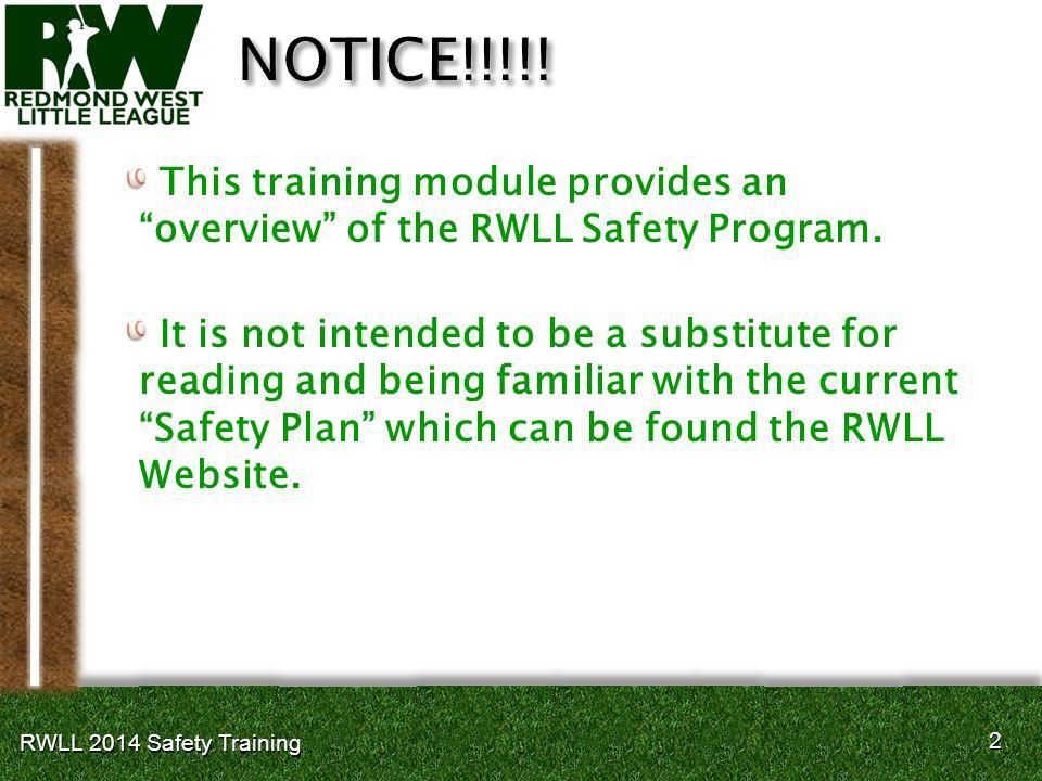 33 RWLL 2014 Safety Training