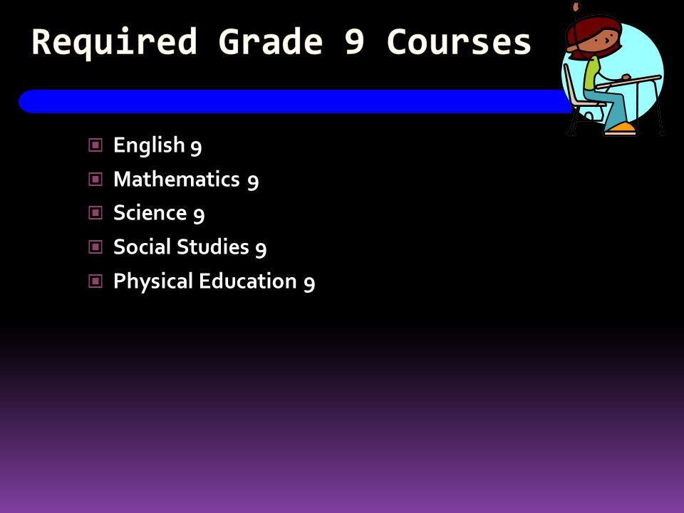 Required Grade 9 Courses English 9 Mathematics 9 Science 9 Social Studies 9 Physical Education 9