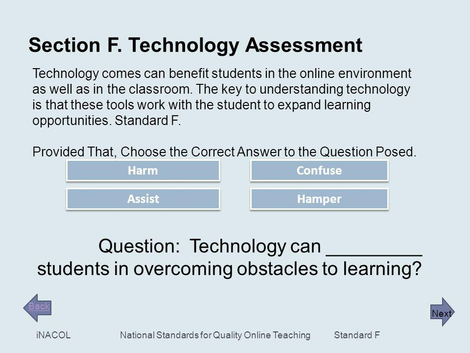 21 Standard F iNACOLNational Standards for Quality Online Teaching Standard F. 4. Adaptive/Assistive Technologies Note to Remember: The Quality Online