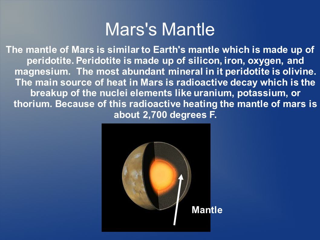 Mars s Mantle The mantle of Mars is similar to Earth s mantle which is made up of peridotite.