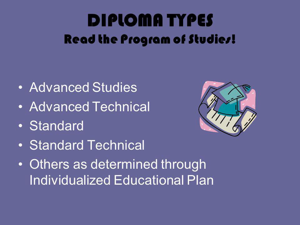 DIPLOMA TYPES Read the Program of Studies.