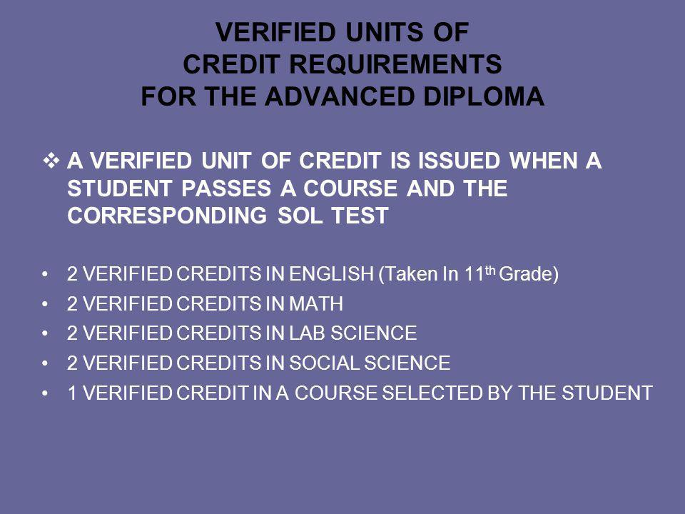 VERIFIED UNITS OF CREDIT REQUIREMENTS FOR THE STANDARD DIPLOMA 2 UNITS IN ENGLISH (TAKEN IN 11 th GRADE) 1 UNIT IN MATH 1 UNIT IN LAB SCIENCE 1 UNIT IN SOCIAL SCIENCE 1 VERIFIED CREDIT IN A COURSE SELECTED BY THE STUDENT