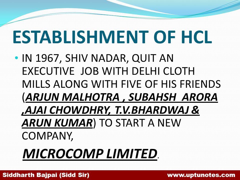 ESTABLISHMENT OF HCL IN 1967, SHIV NADAR, QUIT AN EXECUTIVE JOB WITH DELHI CLOTH MILLS ALONG WITH FIVE OF HIS FRIENDS (ARJUN MALHOTRA, SUBAHSH ARORA,AJAI CHOWDHRY, T.V.BHARDWAJ & ARUN KUMAR) TO START A NEW COMPANY, MICROCOMP LIMITED.