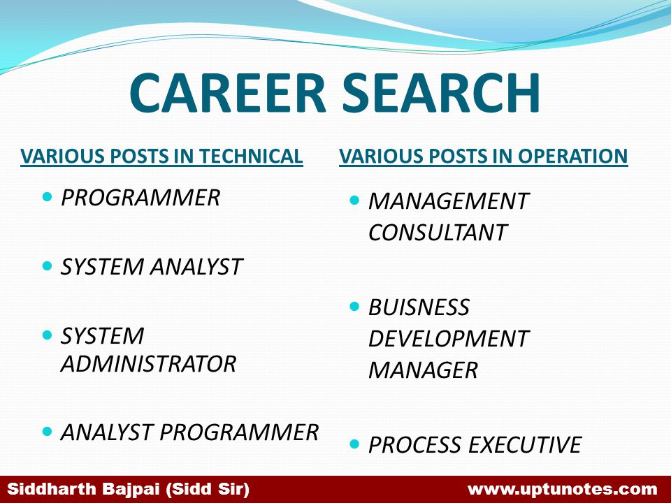 CAREER SEARCH VARIOUS POSTS IN TECHNICALVARIOUS POSTS IN OPERATION PROGRAMMER SYSTEM ANALYST SYSTEM ADMINISTRATOR ANALYST PROGRAMMER MANAGEMENT CONSULTANT BUISNESS DEVELOPMENT MANAGER PROCESS EXECUTIVE Siddharth Bajpai (Sidd Sir) www.uptunotes.com