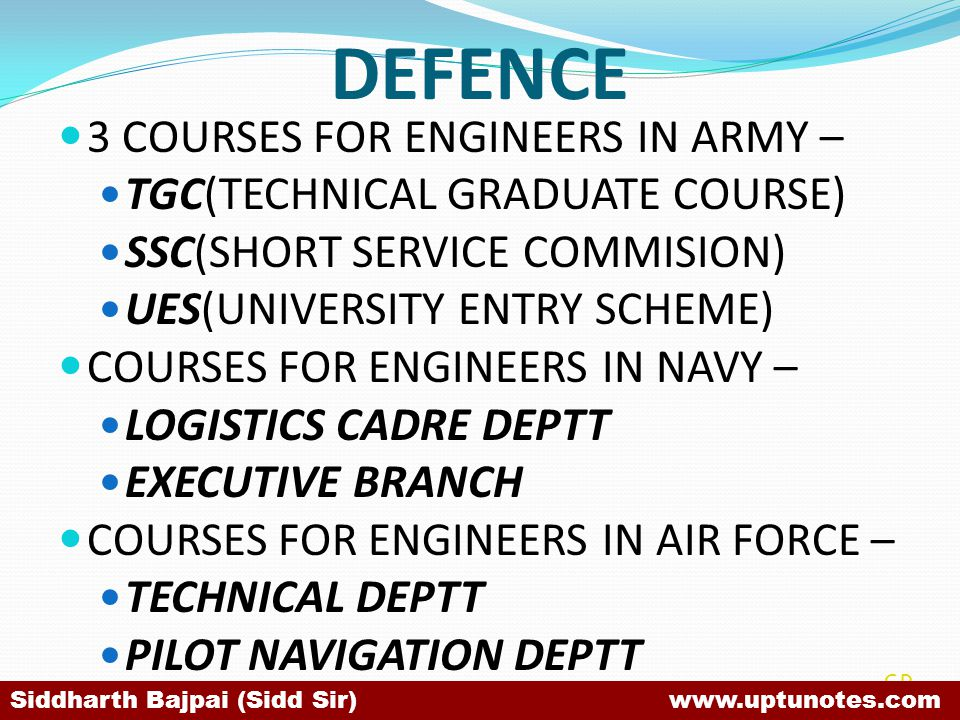 DEFENCE 3 COURSES FOR ENGINEERS IN ARMY – TGC(TECHNICAL GRADUATE COURSE) SSC(SHORT SERVICE COMMISION) UES(UNIVERSITY ENTRY SCHEME) COURSES FOR ENGINEERS IN NAVY – LOGISTICS CADRE DEPTT EXECUTIVE BRANCH COURSES FOR ENGINEERS IN AIR FORCE – TECHNICAL DEPTT PILOT NAVIGATION DEPTT SB Siddharth Bajpai (Sidd Sir) www.uptunotes.com
