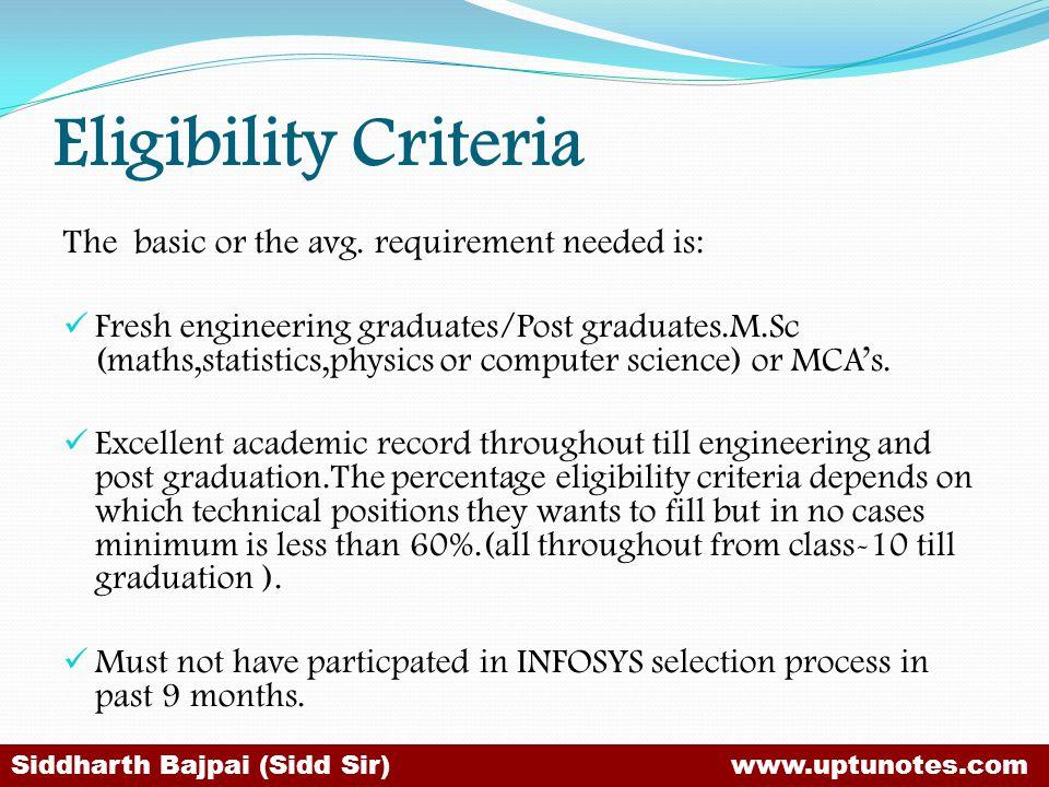 Eligibility Criteria The basic or the avg.