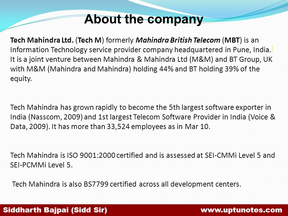 About the company Tech Mahindra Ltd.