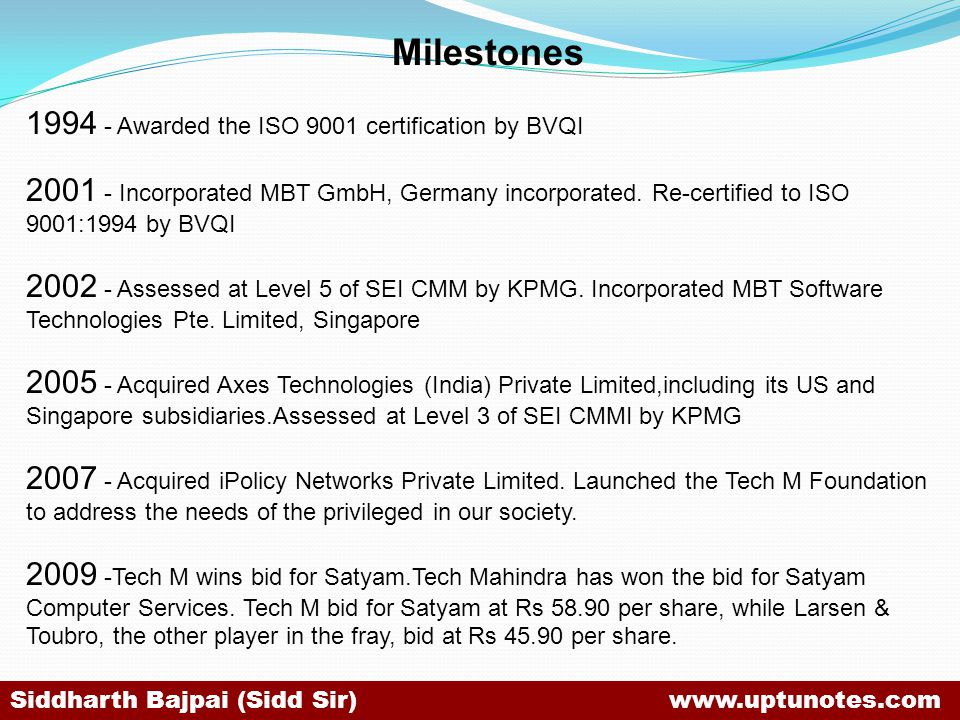 Milestones 1994 - Awarded the ISO 9001 certification by BVQI 2001 - Incorporated MBT GmbH, Germany incorporated.