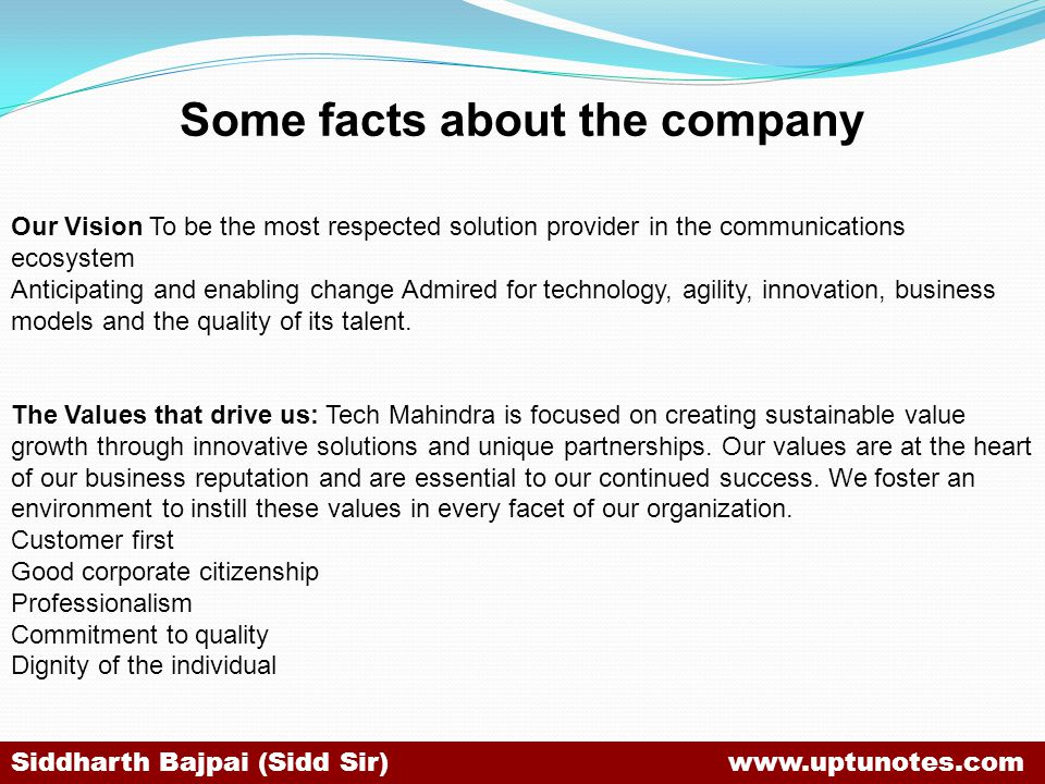 Some facts about the company Our Vision To be the most respected solution provider in the communications ecosystem Anticipating and enabling change Admired for technology, agility, innovation, business models and the quality of its talent.