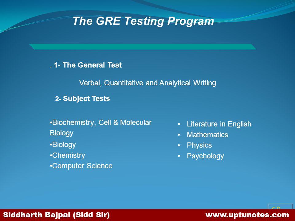 SB The GRE Testing Program.