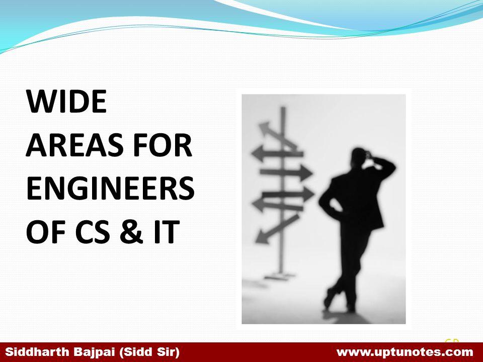 WIDE AREAS FOR ENGINEERS OF CS & IT SB Siddharth Bajpai (Sidd Sir) www.uptunotes.com