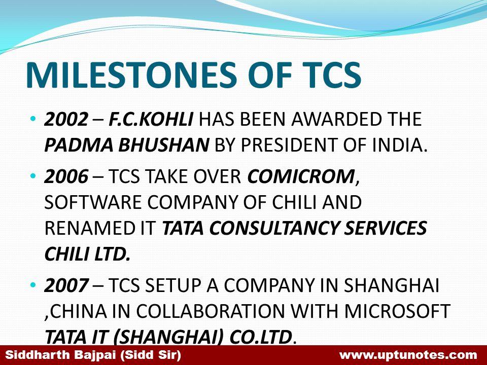 MILESTONES OF TCS 2002 – F.C.KOHLI HAS BEEN AWARDED THE PADMA BHUSHAN BY PRESIDENT OF INDIA.
