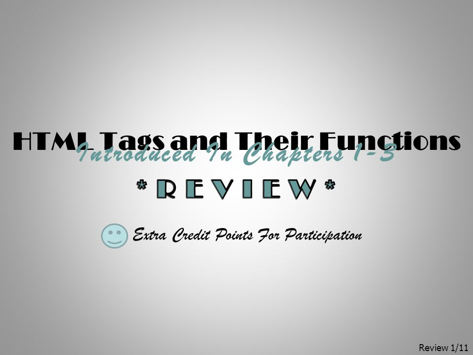 HTML Tags and Their Functions Introduced In Chapters 1-3 Extra Credit Points For Participation Review 1/11