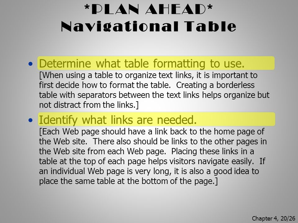 Navigational Table Determine what table formatting to use.