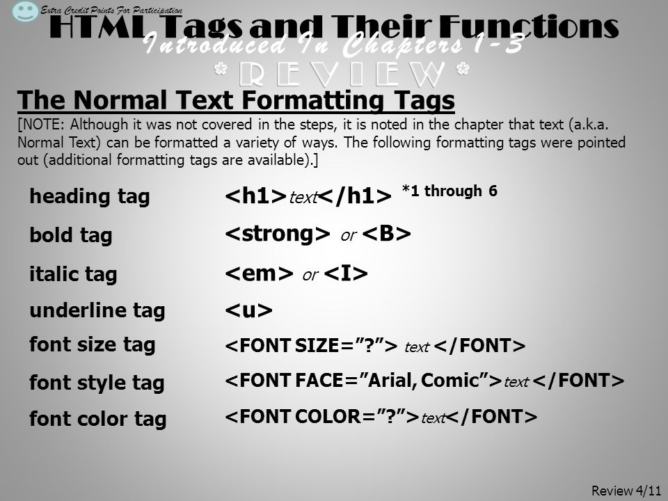 HTML Tags and Their Functions Introduced In Chapters 1-3 The Normal Text Formatting Tags [NOTE: Although it was not covered in the steps, it is noted in the chapter that text (a.k.a.
